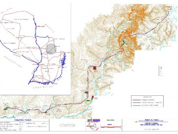 Elaboración del Catastro para la Liberación de la Franja de Dominio Tramo Santa Rosa del Aguaray (Dpto. San Pedro) hasta Capitán Bado (Dpto. Amambay), TRAMO I: (Progresiva 0 a 35+000 más Accesos. (Total 39,65 km.) TRAMO II: Progresiva 35+000 a 70+000 más Accesos. (Total 41,94 km.)